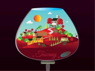 Toscany illustration map map redwine winery glass wine village city illustration depth tuscany branding illustration all the pretty colors illustration design illustration art