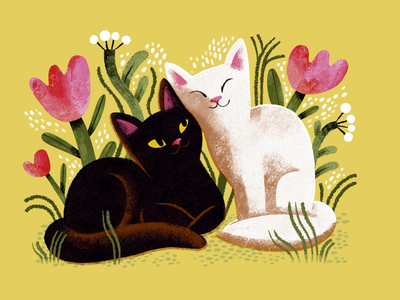 Friends procreate friendship friends love yellow flowers kitty digitalart summer botanical animal cat digital art colourful illustration