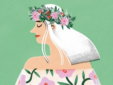 Summer Girl flower girl procreate ipadproart ipadart girl nature flower wreath midsummer illustrated character summer illustration