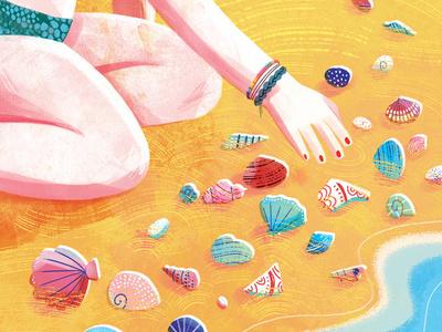 Seashells beach seashell seaside ocean sea summer colourful illustration