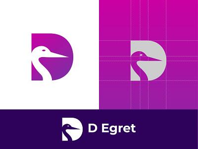 Egret Modern Logo Design d letter logo logos modern logo logo design logo logodesign business logo design business logo egret logo egret