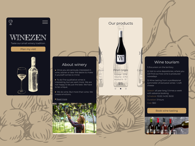 Mobile version of landing page for winery ux design wine winery mobile ui mobile ux ui design ui