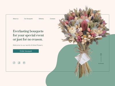 Landing page for the flower shop (dried flowers bouquets) landingpage dried flowers minimal ui daily ui dailyui ui design landing page