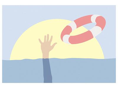 Save him! sea sun pop hands graphicdesign graphic aquamarine blue minimal illustration digital illustration design
