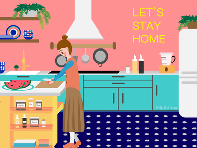 Let's stay home-cooking commercial illustration