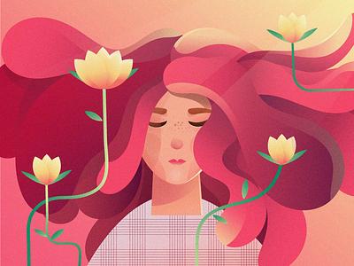 Peace web illustration meditation girl character floral girl adobe illustrator illustration art girl illustration flower girl