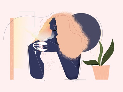 Morning sunshine coffee illustration flower design coffee cup web illustration illustration art illustraion concept adobe illustrator