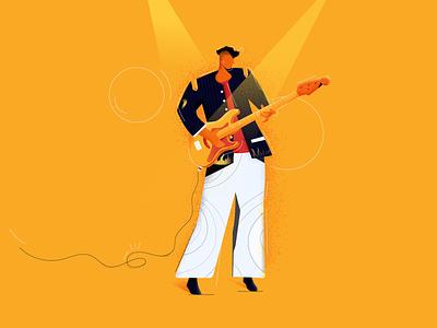 Performer music retro colorful color blast rock guitar pick man playing guitar conceptual concept art concert guitarist texture guitar guitar player ui illustration illustraion concept illustration art adobe illustrator