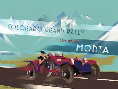 Art Deco Poster : Colorado Grand Rally - Alfa Romeo Monza vintage car vintage poster vintage red car garage car rally colorado art deco poster poster illustration poster alfa romeo monza car illustration car artdeco art deco