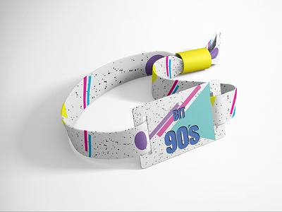 Branding 90's music festival Enterance bracelet concept logo branding graphic design graphicdesign photoshop vector typography illustration design