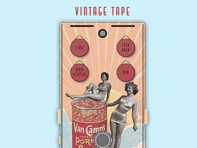A pedal effect for guitar desing contest Vintage Tape Winner 1st music art music pedals guitar pedal guitars guitar graphic design graphicdesign illustration design