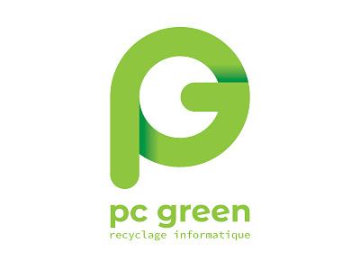 pc green brand design branding design brand letter computer pc green logo branding logodesign logotype logos ecology eco