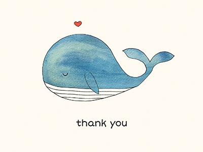 thank you whale greetingcard thankyoucard watercolor whale