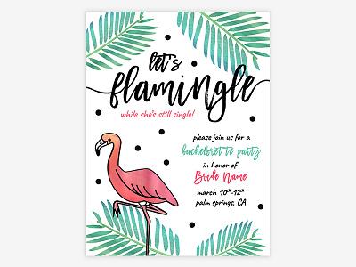 Flamingle! palm springs invite bachelorette flamingle