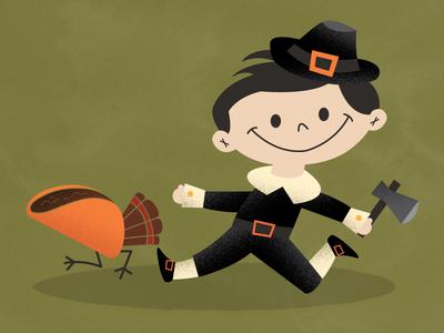 Big Pilgrim november boy child taco thanksgiving illustration creepy