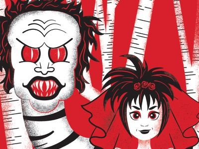 We've come for your daughter, Chuck. lydia deets movie poster screen print white black red jugo beetle beetlejuice