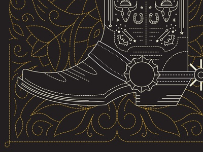 11/31: Just kicking it. awesome cool spur cowboy tacos texas austin paddle board bats stitching illustration boot