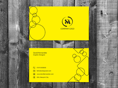 Minimal Business Card Design. yellow color design branding design design visiting card business card