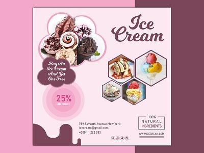 Ice Cream Digital banner Design. food flyer vector card design adobe illustrator branding design branding design illustration photoshop