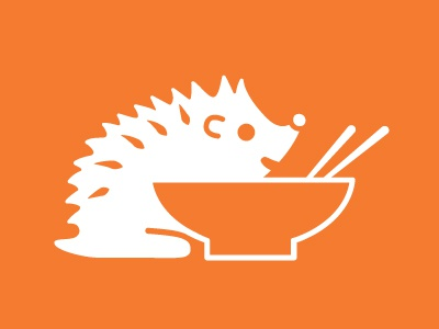 Ramenhog icon 2-color business card noodles hedgehog ramen