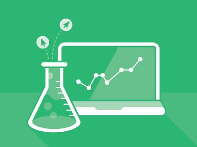 Chemisty of clicks icon illustration 2-color chemistry data laptop