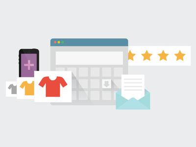 Ecommerce tools business flat illustration commerce online
