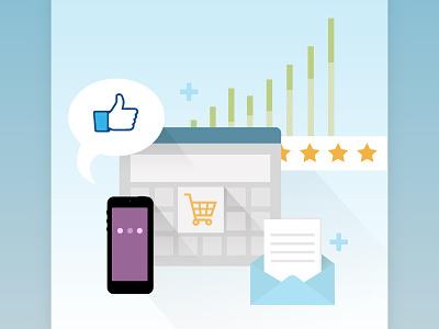 Ecommerce whitepaper cover shopping cart chart mobile web illustration ecommerce