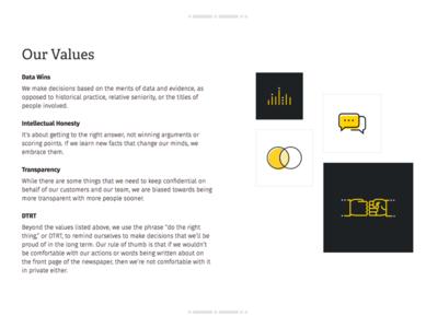 Stitch Values dtrt data honesty transparency values illustration icons