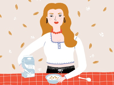 Morning Girl mornings drawing cereals milk people illustration people girl morning design art designs digital art illustrations design illustraion digitalart illustration designer illustration art digital illustration illustrator