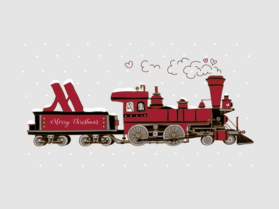 Christmas Card for London Heathrow Marriott Hotel london illustrator freelance designer graphic design card design steam train christmas train hotel train christmas card design illustrations illustraion designer illustration art illustration illustrator