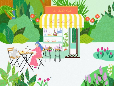 Le Kelci Cafe designs ecofriendly ecology jungle bakery cafe illustration cafe digital illustraion design art digital painting digitalart design illustrations designer illustration digital art illustration art digital illustration illustrator