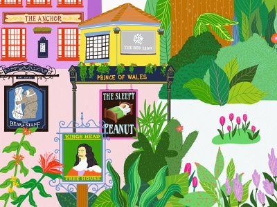 English Pubs signage signs plants illustration plants tropical tropical leaves drinks pubs english bulldog english pubs illustration design design illustrations illustraion digitalart illustration digital art illustration art digital illustration illustrator