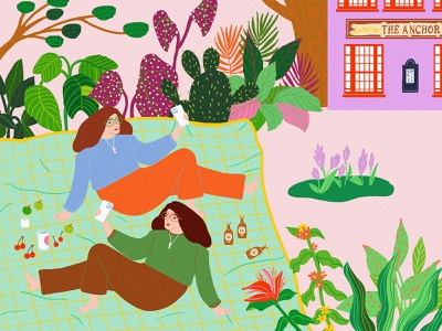 Twins' Picnic illustration digital graphic design digital artist digital ecology plants illustration plants park picnic twins illustrations digital painting illustration illustraion digitalart designer illustration art digital art digital illustration illustrator