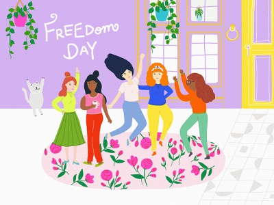 Freedom Day graphic drawing draw cat house ecofriendly ecology eco flowers floral free freedom design digitalart designer illustration digital art illustration art digital illustration illustrator