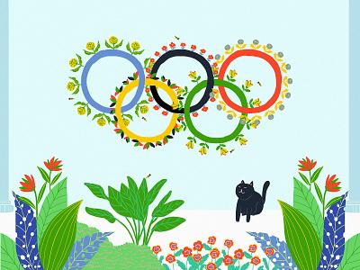 Olympic Games Tokyo 2020 pet friendly cat lovers cat plants graphic design ecofriendly eco florals flowers tokyo olympic games olympic design digitalart designer illustration digital art illustration art digital illustration illustrator