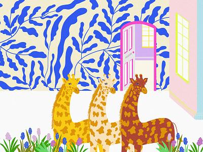 Gorgeous Girls Dress Up fab building wallpaper flowers drawing drawn illustrated graphic design girls animals wildlife giraff design digitalart designer illustration digital art illustration art digital illustration illustrator