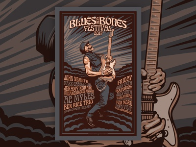Blues And Bones Gig Poster branding typography illustrator design vector illustration