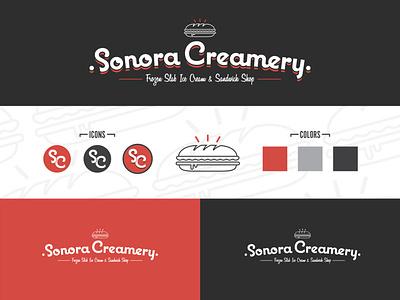 Sonora Creamery Brand icon logo branding typography illustrator design vector illustration
