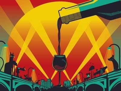 Whiskers & Wine (Adopt Like a Rockstar) illustrator vector design ledzeppelin rockroll illustration