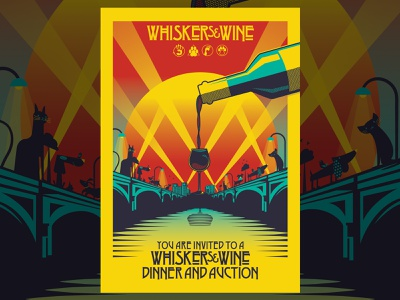 Whiskers & Wine (Adopt Like a Rockstar) posterart ledzeppelin rockstar design vector illustration