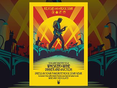 Whiskers & Wine (Rescue Like a Rockstar) rockstar ledzeppelin posterart illustrator design vector illustration
