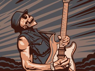 Poster Art Screenshot gig poster rock poster blues poster skeleton guitar illustrator illustration vector