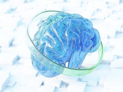 Brain 3D graphic design branding flat icon lightblue green blue web glass blendercommunity cycles blender ui logo illustration design art abstract 3dart 3d