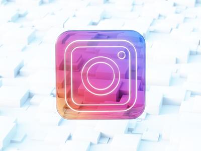 Instagram 3D dribbble blendercommunity blender ux web graphic design instagram glass icon flat render branding ui logo illustration abstract design art 3dart 3d