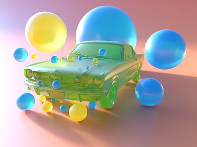 Mustang Fastback 3D colorful soft simple motion graphics graphic design web branding ui logo illustration render design art abstract 3dart 3d