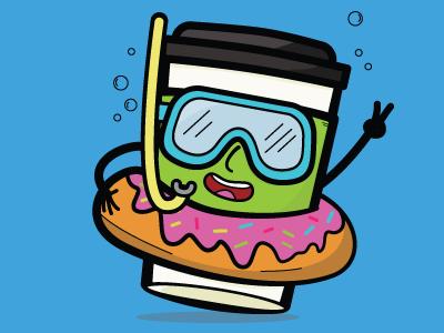 Coffee Pool Party donut nerd pool cute drink kawaii food coffee