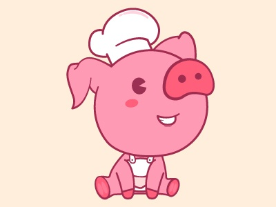 Pig Chef cute bacon chef pink piggie animal pig