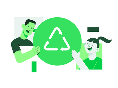 Recycling community awareness friends community recycling recycle identity design ui illustration