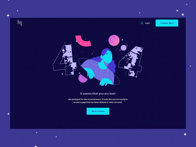 404 Page ui design 404 page 404 error page stars illustrator planets outerspace illustration 404page 404 error 404