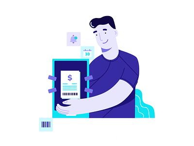 More control for your bills illustrator payment control bills vector ui illustration